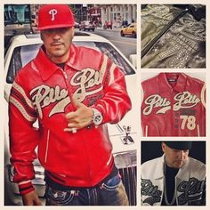 Pelle Pelle Encrusted Varsity Jacket as worn by French Montana
