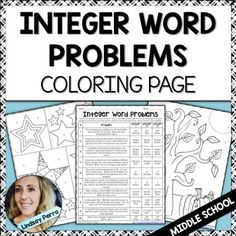 This coloring page is a great way to have students practice solving word problems involving comparing, adding and subtracting integers. Assign for homework, after a test or just a fun way to practice in class! Answer key included! Available as part of three bundles of resources!