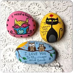 Painted rocks by Phyllis Plassmeyer