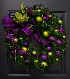 Christmas wreath in purple and lime green by PinkLimeWreaths $120.00