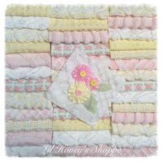 """Chenille fabric quilt squares 42-6"""" blocks, soft pink & yellow, very shabby chic, vintage bedspread fabric by lilhoneysshoppe on Etsy"""