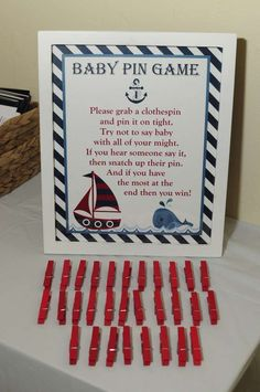 Nautical Baby Shower | http://CatchMyParty.com Baby Pin Game with Sign Game Ideas