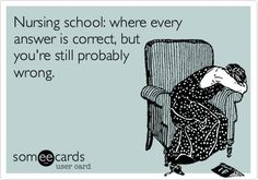 Funny Cry for Help Ecard: Nursing school: where every answer is correct, but youre still probably wrong. quotes