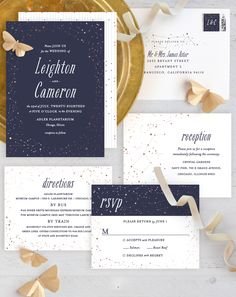 Whimsical and romantic, this wedding invitation by Minted artist Snow and Ivy features a frame of goil-foiled constellations to write your love in the stars. Customize this wedding stationery suite now on Minted.com