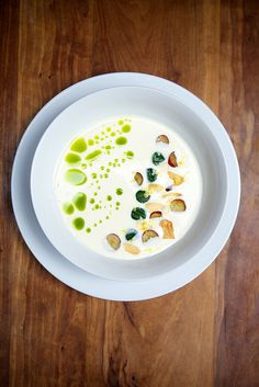 Photo: Nicole Franzen | Recipe: http://www.marcussamuelsson.com/recipe/august-restaurant-white-gazpacho-soup-recipe