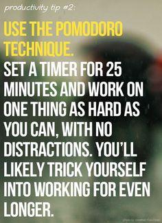 El método del pomodoro: encender el cronómetro y en 25 minutos trabajar concentrándonos en una tarea, sin distracciones. #TimeManagement