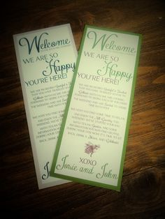 Rustic Welcome Bag Notes--You Pick the Colors and Message, Fully Custom, Printed on Cover Stock or DIY Printing