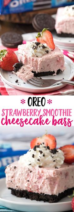 OREO Strawberry Smoothie Cheesecake Bars - Cool, creamy and delicious. The perfect summer dessert! #NABISCO #BBQRemix #AD