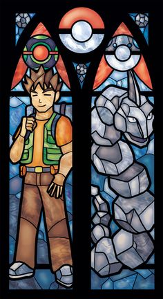 Stained Glass Pokemon Print of Brock and Onix por FayProductions, $8.00