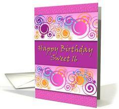 Pink, Purple and Swirls Sweet 16 Greeting card