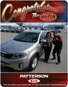 """Congratulations to Sharon Hulcy on her brand new 2014 Kia Sorento. """"It has been an honor working with you! Enjoy!!"""" - From Jeff Baker at Patterson Kia"""