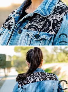 DIY Lace denim jacket.... maybe with vintage floral too?