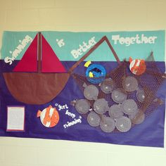 Leader in me school: 7 habits: habit 6 synergize bulletin board! Swimming is better together! We discussed how in the movie Finding Nemo the fish and Nemo had to swim together to free themselves from the net! My students loved it! Teaching Character, Character Education, Elementary School Counseling, Kindergarten Teachers, Classroom Displays, Classroom Themes, Habits Of Mind, Seven Habits, Underwater Theme