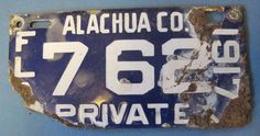 1917 Florida license plate Alachua County porcelain license plate in Collectibles, Transportation, Automobilia, License Plates, US: Florida | eBay