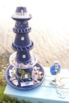 I made this light house...I  used 5 terra cotta pots, 4 saucers, 1 plate, I spray painted  them, glue them with E6000 glue, drew windows , door ,  added grass to bottom pot, shells & sea glass ..it was a fun project