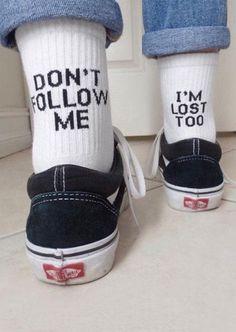 Dont Me Im Lost Tooquot; Funny Socks, Cute Socks, My Socks, Lost Socks, High Socks, Fashion Mode, Look Fashion, Fashion Outfits, 90s Fashion