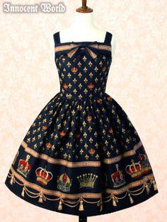 114704 グラツィアクラウンジャンパースカート Grazia Crown JSK Brand:  Innocent World Item Type:  JSK Price:  ¥22,890 Year:  2011 Colors:  Black, Wine/Bordeaux, Blue Features:  Lining, Back shirring, Side zip, Adjustable Straps Other notes:  Outer fabric: 100% Cotton/Crown print Inner lining: 100% Polyester  Skirt length: Short 55 // Long 68  Bust:  85-98 Waist:  64-81