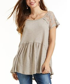Pair your beloved jeans with this scoop neck tunic fashioned with elegant lace panels and soft cotton for the ultimate in casual-chic wear. Lace Sleeves, Casual Chic, Taupe, Scoop Neck, Tunic Tops, Elegant, How To Wear, Cotton, Women
