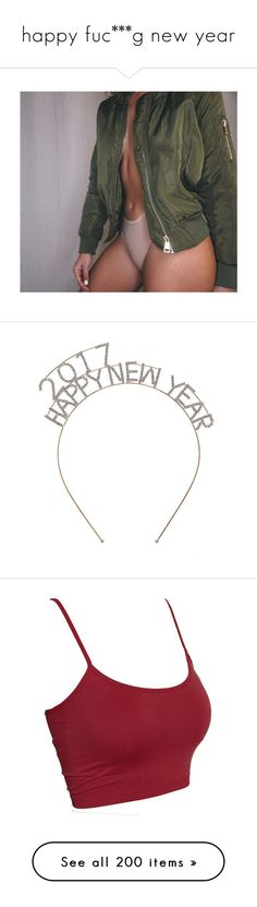 """happy fuc***g new year"" by idc-baby ❤ liked on Polyvore featuring accessories, hair accessories, hats, hair band headband, stretchy headbands, crystal hair accessories, headband hair accessories, head wrap headband, tops and red camisole"