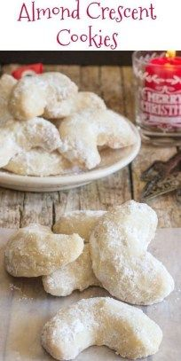 Almond Crescent Cookies – An Italian in my Kitchen Almond Crescent Cookies, almond, pecan or walnut these melt in your mouth Christmas Cookie Recipe are a must make. Greek Cookies, Xmas Cookies, Delicious Cookies, Snowball Cookies, Gingerbread Cookies, Crescent Cookie Recipe, Crescent Cookies, Almond Crescent Recipe, Italian Almond Cookies