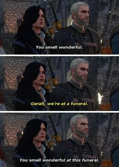The Witcher Geralt of Rivia Yennefer video games gaming funny memes Gamer Humor, Gaming Memes, The Witcher Geralt, Loose Weight Fast, Witcher 3 Wild Hunt, Game Of Thrones Art, Meme Template, Funny Games, I Am Game