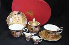 "Gustav Klimt Tee- Kaffeeservice 9teilig Porzellan Motiv ""Der Kuss"" Gustav Klimt, Tableware, Collection, China China, Milk Churn, Kiss, Kaffee, Packaging, Dinnerware"