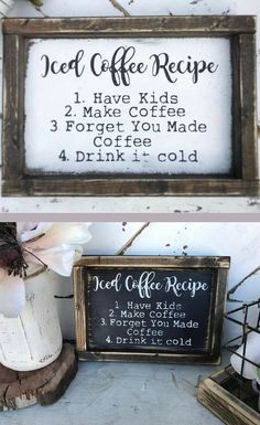 This is my life! Iced Coffee Recipe - Coffee Bar Sign, Home Decor, Funny Coffee Sign, Mom Sign, Dad Sign, Farmhouse Sign, Rustic Sign, Rustic Farmhouse, Rustic Coffee Bar, Farmhouse Coffee Bar, Funny Sign, Funny Decor, Kitchen Decor, Kitchen Sign, Gift Idea, Parenting Sign #afflink