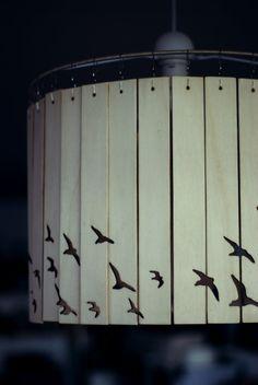 16 inch Laser cut wooden bird lampshade by ShoreCottageStudio
