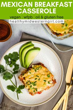 A hearty, healthy vegan breakfast casserole — with hash brown potatoes, peppers, refried beans and corn tortillas — smothered in enchilada and cheese sauces. Mexican Breakfast Casserole, Mexican Breakfast Recipes, Brunch Recipes, Pancake Recipes, Crepe Recipes, Breakfast Pizza, Waffle Recipes, Breakfast Bowls, Side Recipes