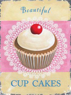 Cupcakes Metal Sign, Bright Pink Vintage Kitchen, Kids Room, Den Decor