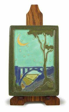 Bixby Creek Bridge Tile - Mission Oak Tile Stand By John Ramond - Ephraim Pottery
