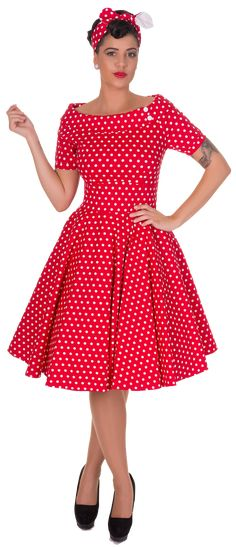 Darlene Retro Full Circle Polka Dot Swing Dress in Red - Swing Dresses Rockabilly Mode, Rockabilly Looks, Rockabilly Fashion, Rockabilly Dresses, Vintage 1950s Dresses, Vintage Inspired Dresses, Retro Dress, Vintage Outfits, Vintage Chic