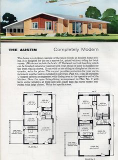See 125 vintage home plans used to design & build millions of mid-century houses across America - Click Americana Modern Floor Plans, Modern House Plans, Vintage Architecture, Facade Architecture, Dream House Plans, House Floor Plans, House Plans With Pictures, Vintage House Plans, Vintage Houses