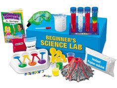 Beginner's Science Lab Children discover the magic of science...with a ready-to-use lab designed just for beginners! Kids just follow the step-by-step instructions to complete 12 simple experiments—from building a volcano and growing colorful crystals to creating realistic snow and experimenting with space sand!