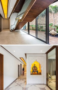 Contemporary design with elements of Indian Traditional houses Staircase Design, Staircase Ideas, Real Estate Logo Design, Stone Columns, Temple Design, Indian Homes, Layout, Home Office Decor, Traditional House