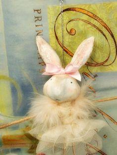 Shabby Chic vintage inspired Ballerina Bunny by sugarcookiedolls, $26.00