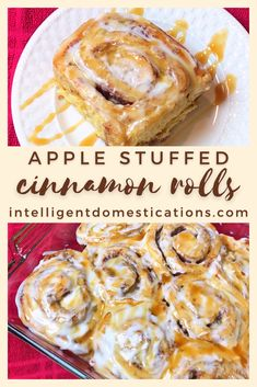 Our Caramel Apple Cinnamon Rolls are stuffed with apple bits and covered with Caramel Drizzle over Icing. We cheat a little to make these. They are not quite from scratch which means you only need three ingredients. A delicious sweet apple pastry treat any time of the year. #fallrecipes #fallfood #appledessert