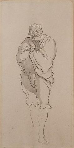 Honoré Daumier Marseille, 1808 - Valmondois, 1879 L'homme au manteau Crayon noir…