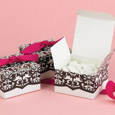Damask Favor Boxes - White and Black - Set of 25