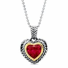 Zales Heart-Shaped Lab-Created Ruby Cat Pendant in Sterling Silver and 14K Gold fRO2AG