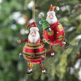 "Red & Green Santa Claus Glass Ornaments 5.5"" -   PerfectlyFestive"