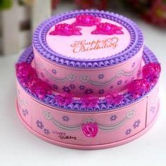 HOT! Super Lovely Creative Music Box Classic Happy Birthday Music Box with Birthday Cake Shape Jewelry Box Nice Gift For Kids