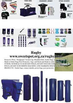 Sweetspot is a sports equipment supplier that supplies a large range of sports. Senior Club, Tackle Bags, Netball, Sports Equipment, Shoulder Pads, Rugby, Flags, Soccer, Clothing