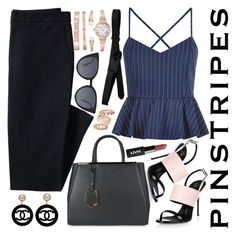 """""""Pinstripes"""" by chey-love ❤ liked on Polyvore featuring Canvas by Lands' End, Anne Klein, New Look, Giuseppe Zanotti, Fendi, Chanel, Lowie and Tory Burch"""