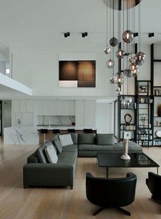 salon-moderne-ouvert-cuisine-suspensions-boules-verre