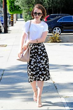 Upgrade A Basic White Tee. A skirt doesn't need to be short to be gorgeous.