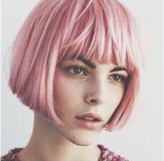 Pink bob with bangs