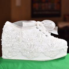Wedding Shoes. Light Ivory or White Platform Wedge High Heel Sneakers Tennis Shoes (Marilyn)