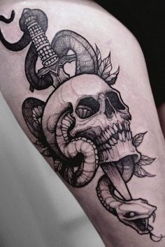 Skull, dagger, and snake tattoo by Tessa Von - Book with Tessa on the Tattoodo App or find an artist near you! - #skulltattoo #swordtattoo #daggertattoo #snaketattoo #darkarttattoo #illustrativetattoo #horrortattoo #tattooidea #tattooinspo