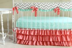 Bumperless Baby Bedding, Mint Coral Chevron Crib Bedding With Custom Crib Pieces…